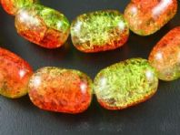 20 Orange/Green /Yellow Oval Crackle Glass Beads